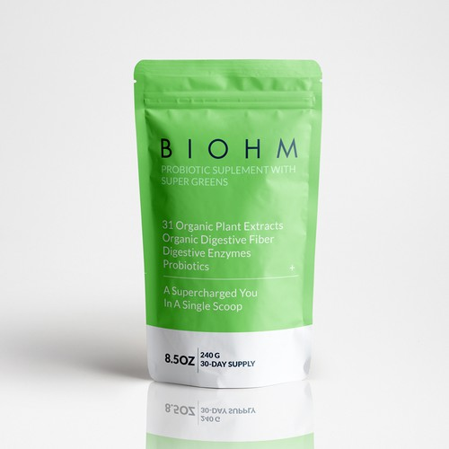 BIOHM Probiotic Suplement With Supergreens Packaging Design