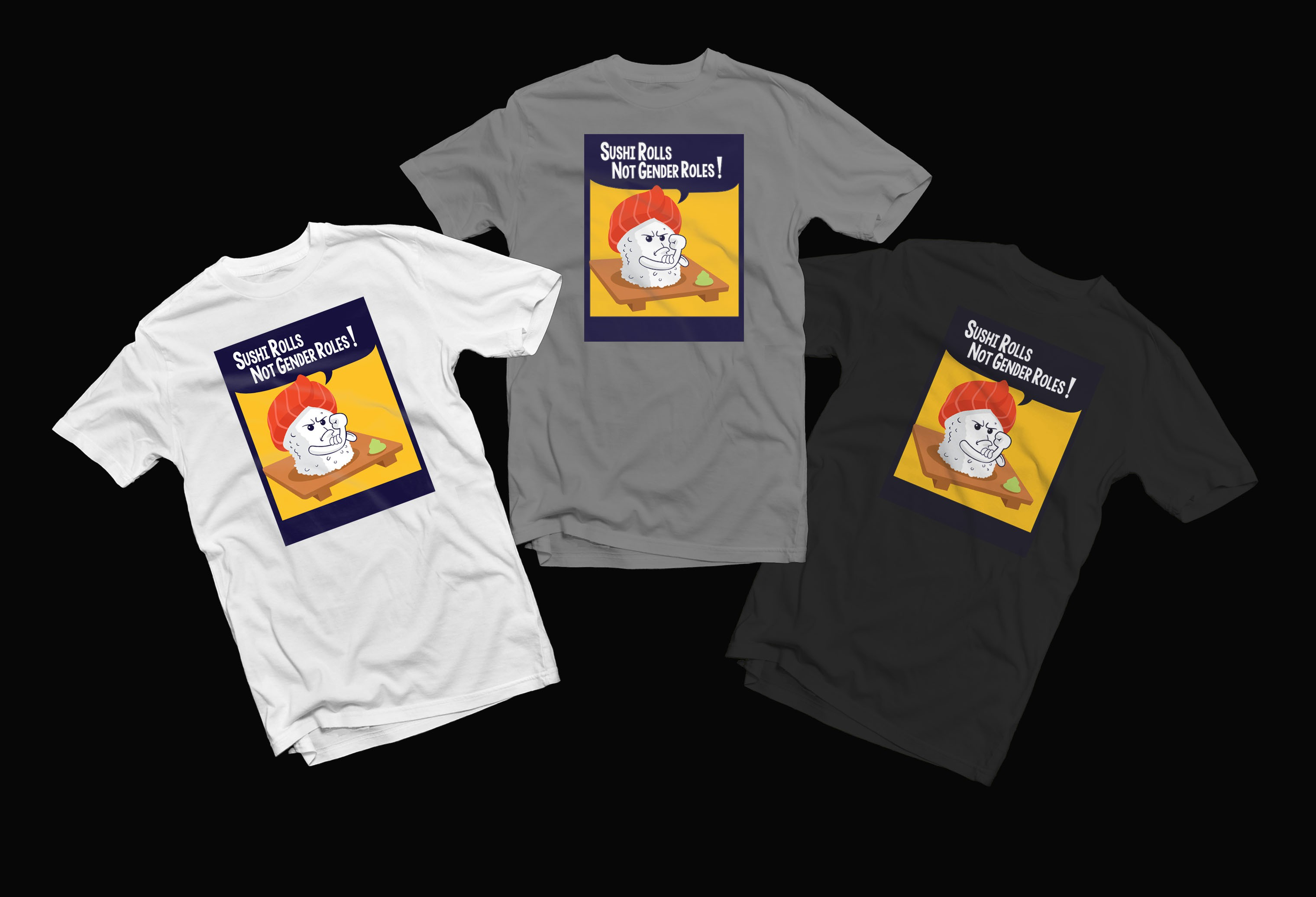 Raw Sushi Themed T-shirt (More Than 1 Design Will Be Selected)
