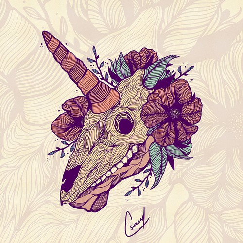 floral unicorn skull illustration