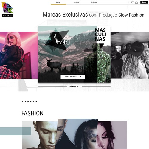 Web page design for the ecommerce Fashion market