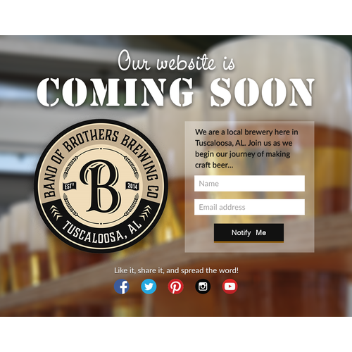 Coming Soon page design for a craft brewery