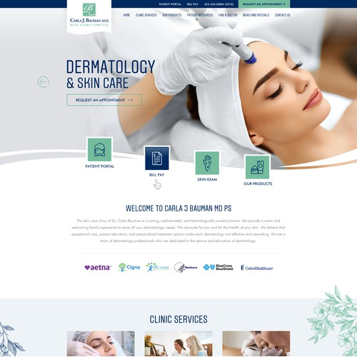 Website redesign for Medical and cosmetic dermatology clinic