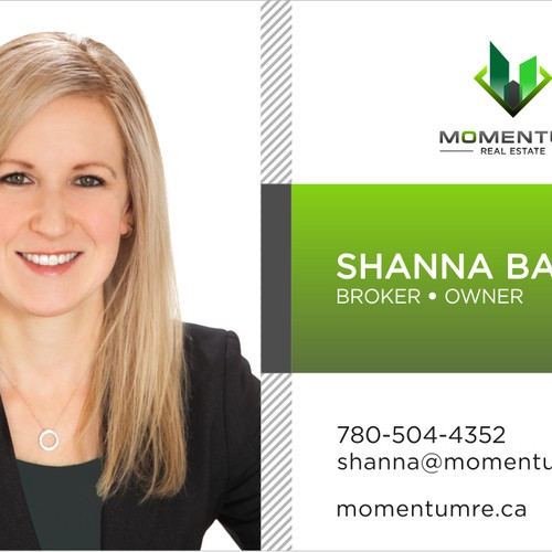 A very simple elegant bussines card template for momentum real estate.