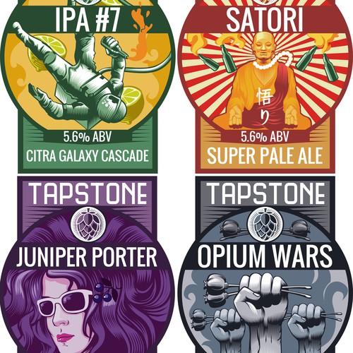 Pump clip label design for Tapstone