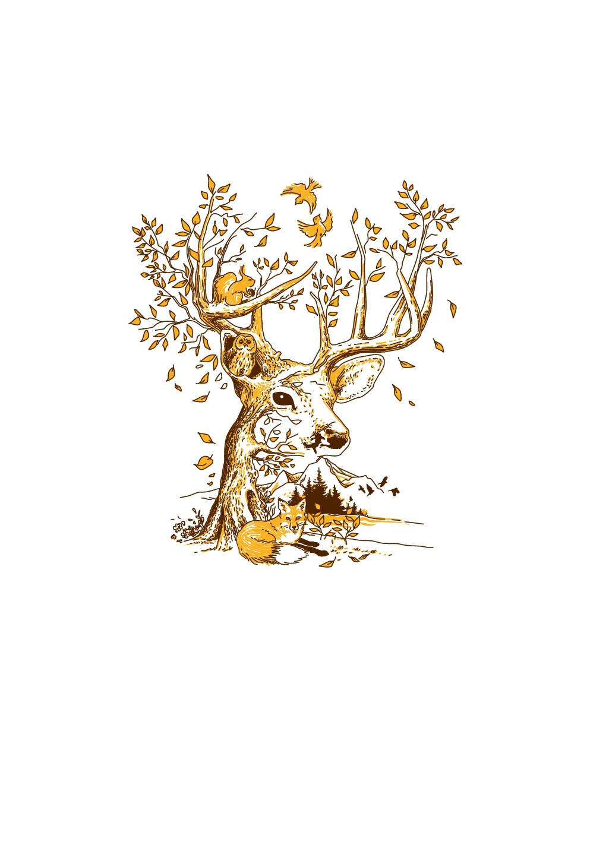 Deer & Nature Illustration - 2 colors for screenprinting