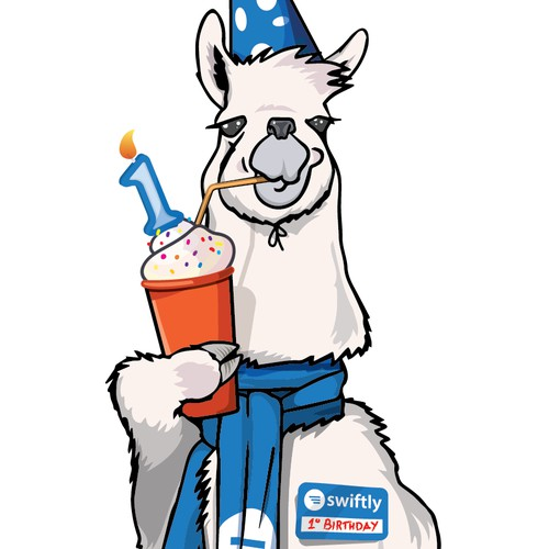 Create an awesome llama illustration for Swiftly's 1st birthday!