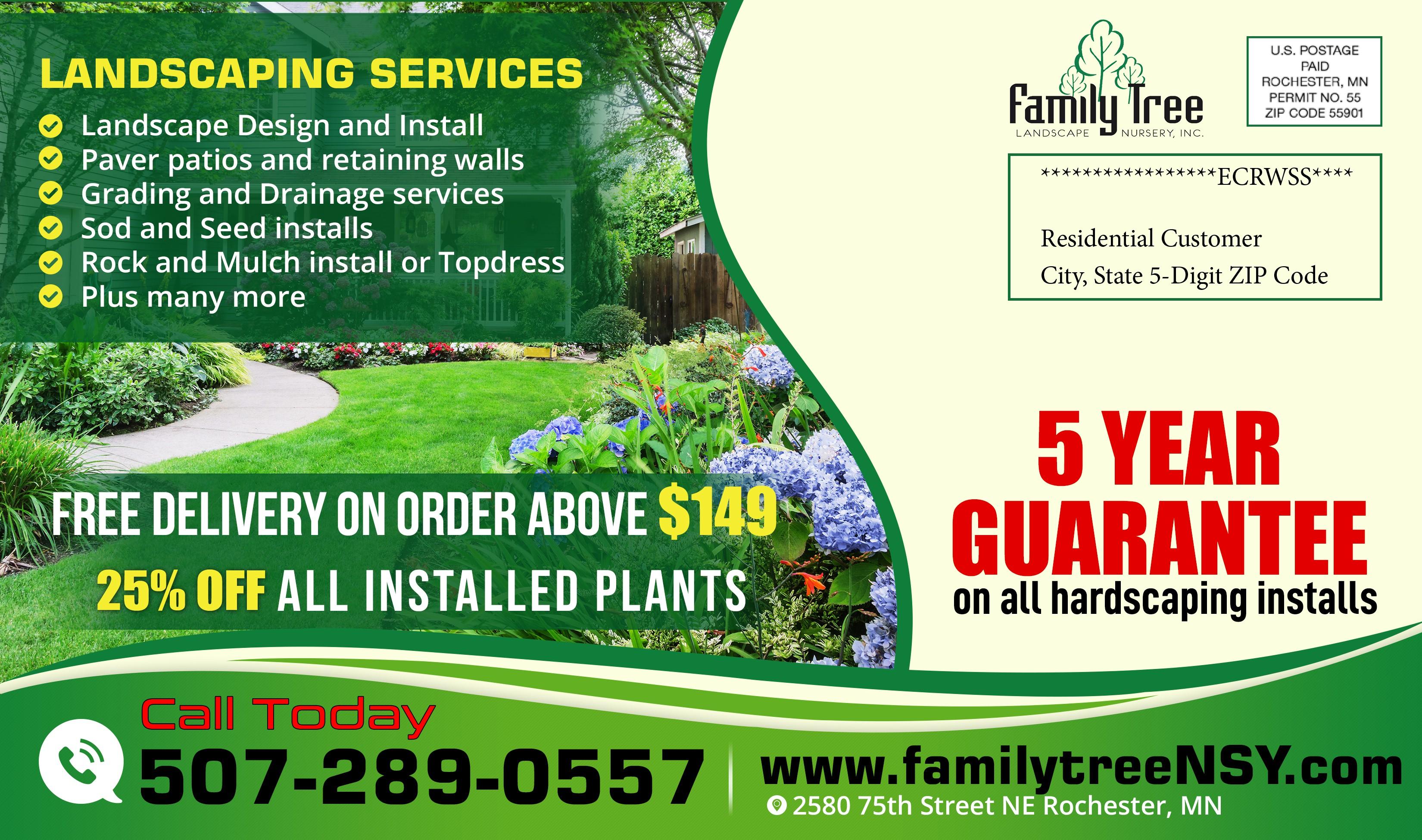 Design our spring landscape marketing postcard