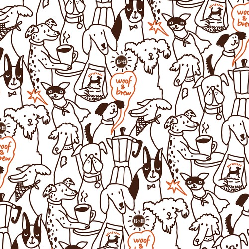 Pattern concept for Coffe Loving Dog Parents