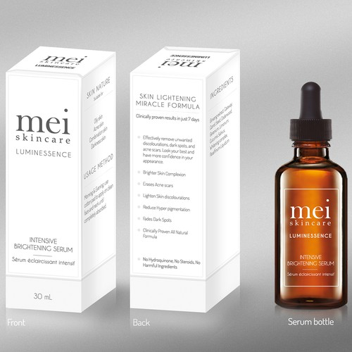Mei Skincare - Product packaging and bottle label