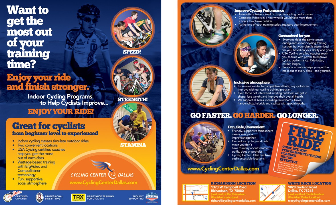 Create the next postcard or flyer for Cycling Center Dallas