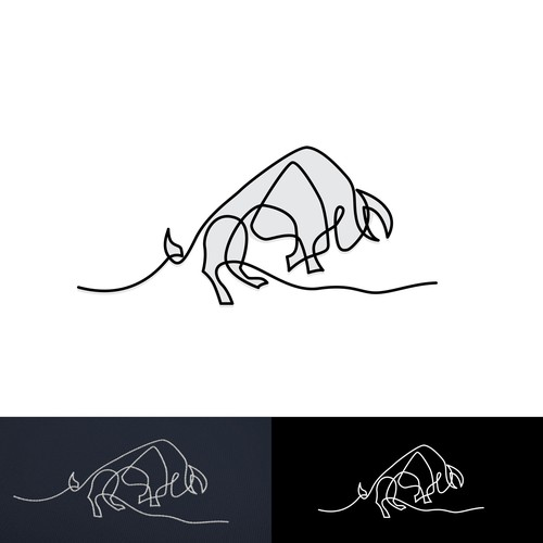 Single Line Bull Logo