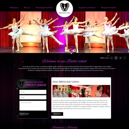Sweet Pink Ballet School onepage Webdesign