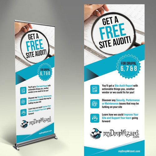 """Create an awesome VERTICAL BANNER (""""FREE site audit"""") for the myDropWizard booth at a conference!"""