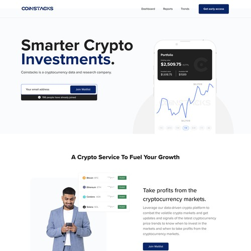 Crypto currency landing page mobile app