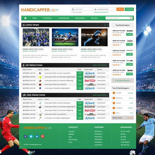 Needs sports handicappers (A.K.A. tipsters) portal design