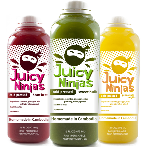 logo and label design for juicy ninjas