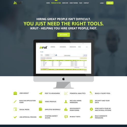 Recruitment software: redesign of front page