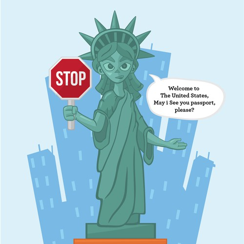 Statue Libery Illustration for welcoming immigrant