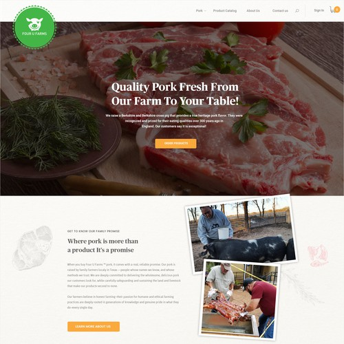 Homepage concept for a Texas Farming Websites