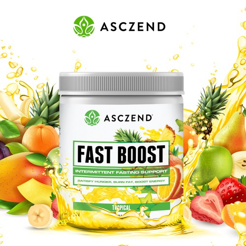 Eye-catching Fresh & Healthy Supplement Label Packaging Design for Asczend
