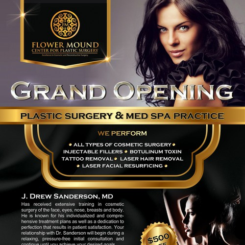 postcard or flyer for Flower Mound Center for Plastic Surgery and MedSpa