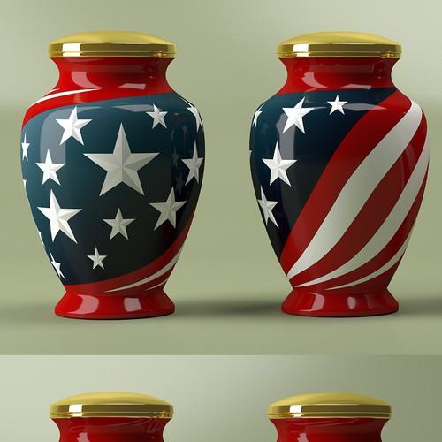Funeral Urn Based on American Flag