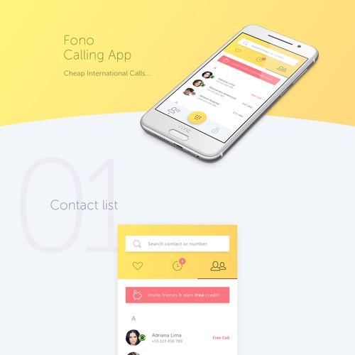 App design for Calling app.