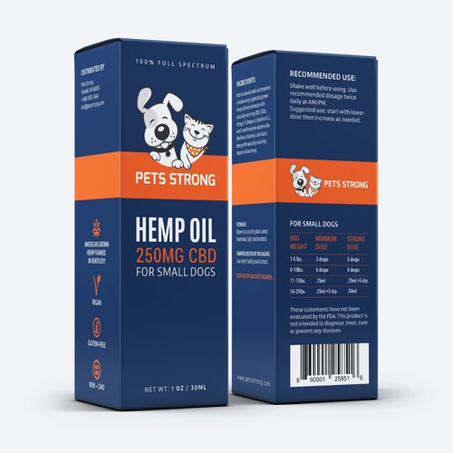 Design a modern package for a Pet CBD product