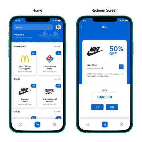 Coupon/Promotion app design