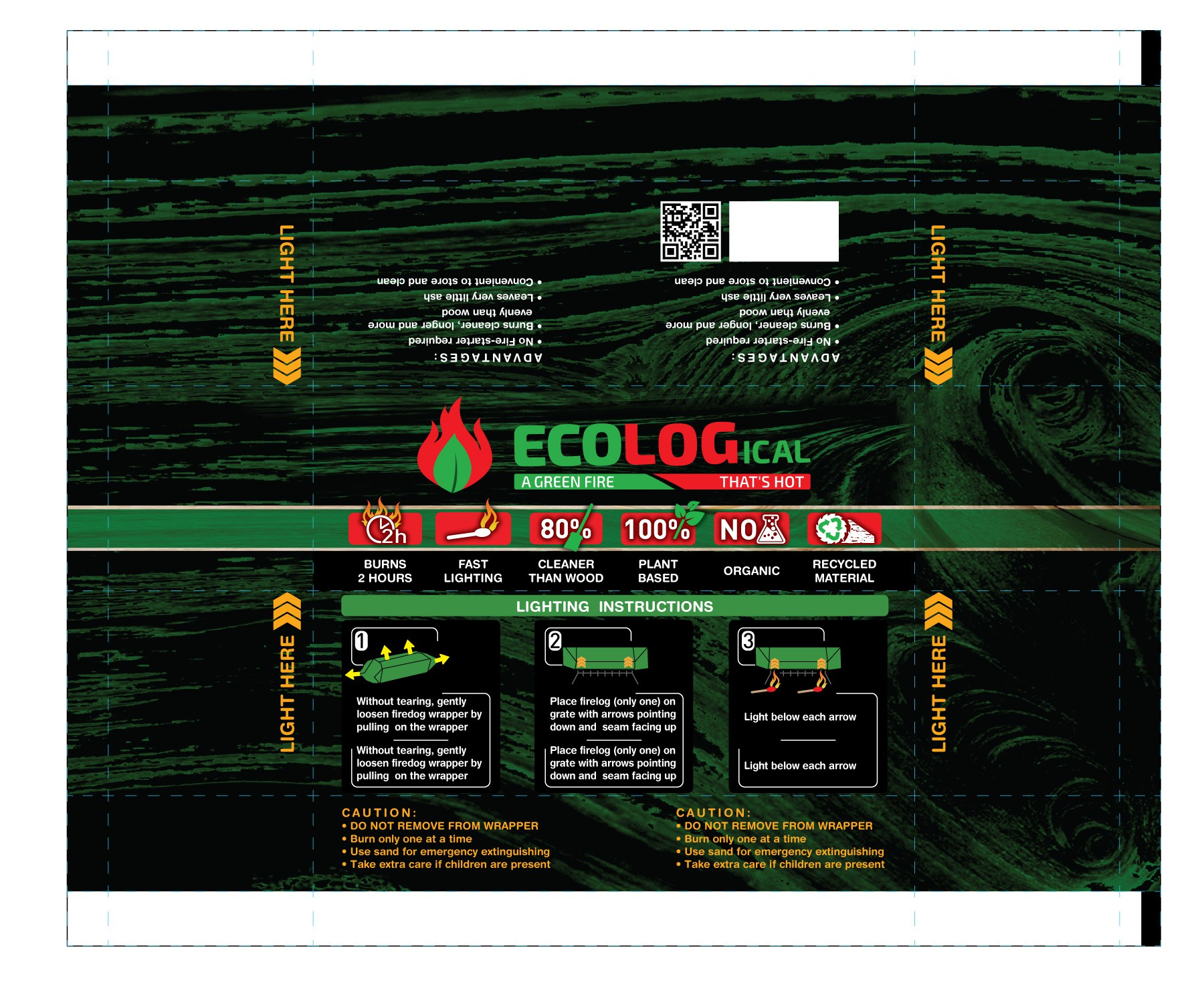 Eco friendly fire wood needs a clean/clear label design - colourful & vibrant that gives a feeling of fire.