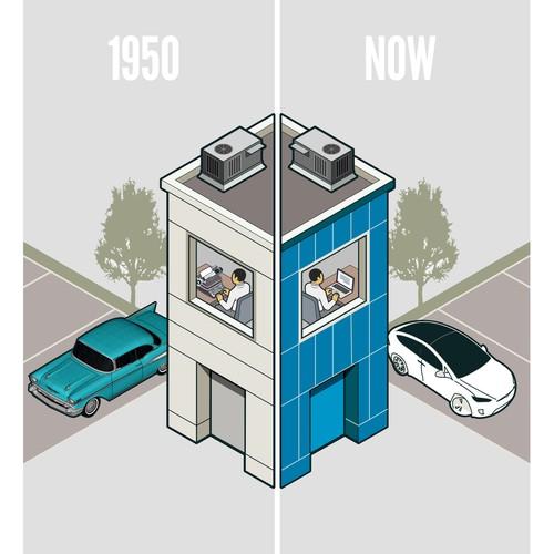 Simple office buildings illustration.