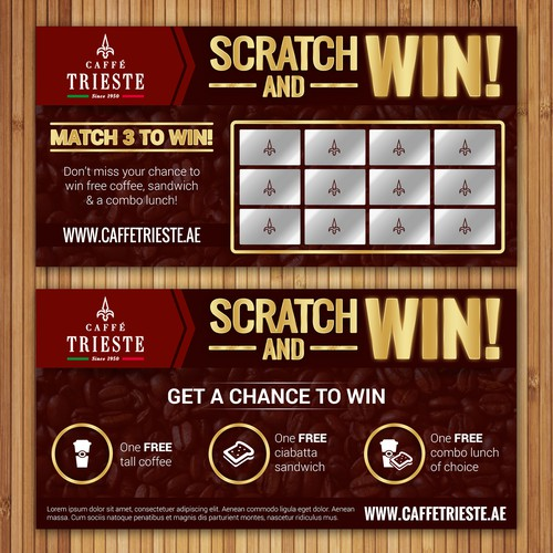 Scratch and Win Coupon card
