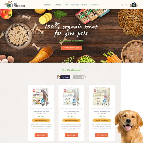 Homepage design for organic pet food brand