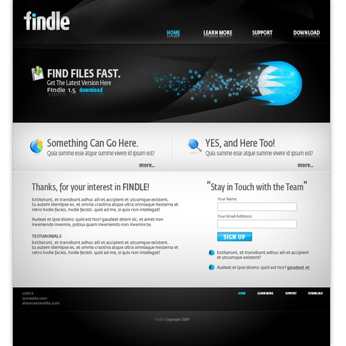 Website design for file search brand