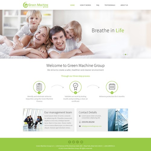 Home Page Design Concept For Green Machine Group