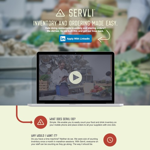 Create a sizzling landing page to sign up chefs & restaurateurs from LinkedIn PPC advertising