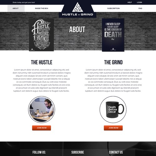 About us page for the Hustle&Grind website