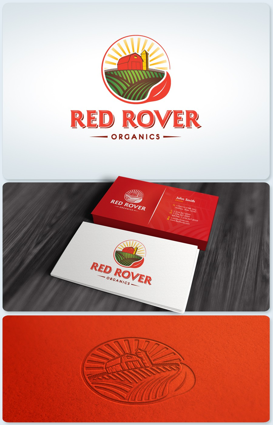 Create the next logo and business card for Red Rover Organics