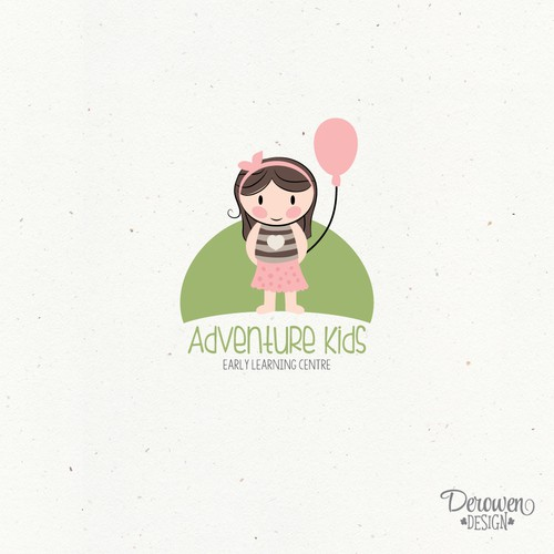 Little girl with balloon, daycare logo concept.
