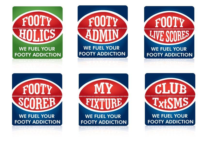 6 x iPhone & Facebook logos: FootyHolics FootyAdmin FootyScorer FootyLiveScores MyFixture ClubTxtSMS