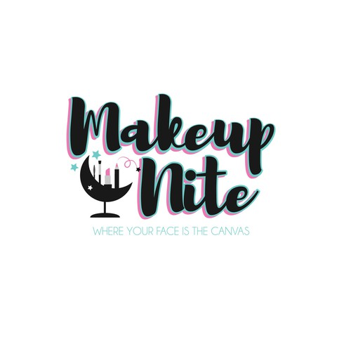 Logo concept for makeup/wine parties that are hosted in a restaurant setting
