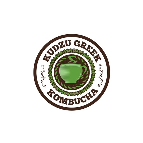 Logo concept for kudzu greek kombucha