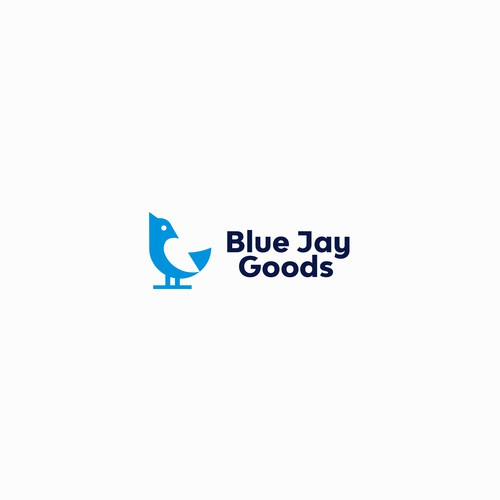 Blue Jay Goods. Negative space logo design