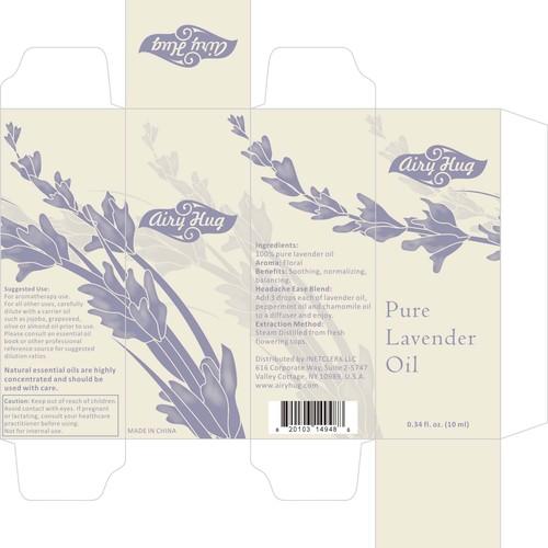Create 10 ml lavander oil bottle label and box designs and 3D images + logo