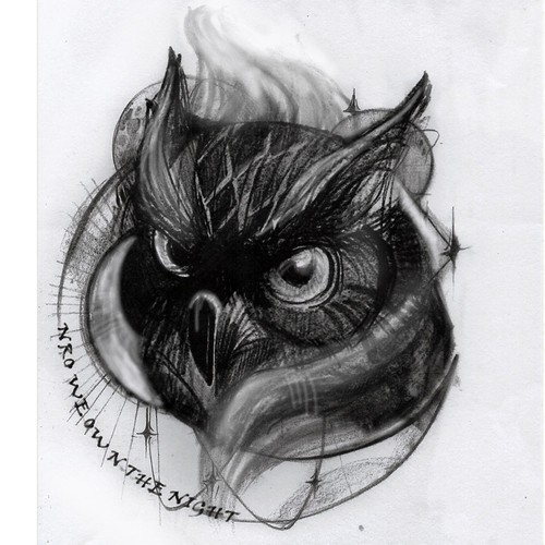 sketch for  owl tattoo