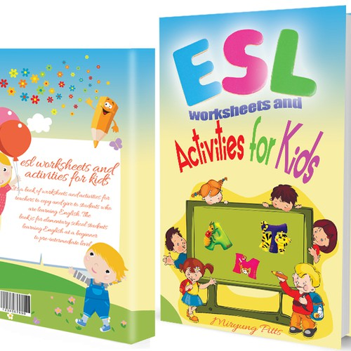 Create a playful cover for a workbook for kids learning English