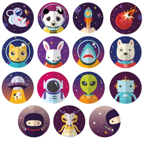 Space theme icons.