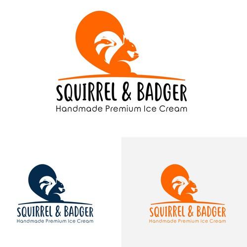 SQUIRREL & BADGER ICE CREAM logo design