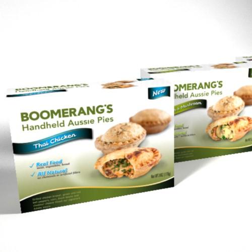 Boomerang's Aussie Pies Packaging