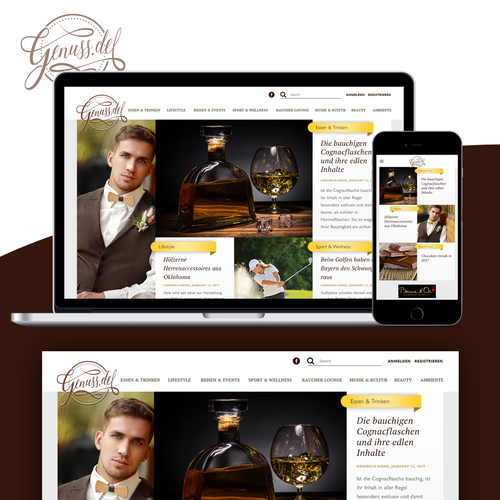 Responsive homepage design for a German food and lifestyle portal.